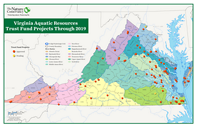 Map of Virginia Aquatic Resources Trust Fund projects through 2019.