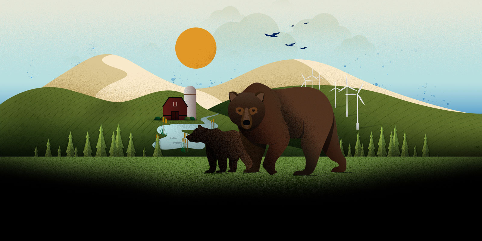 Graphic design illustration of brown bears crossing green pasture with hills, trees, a barn, wind turbines, and flying birds arranged in the background landscape.