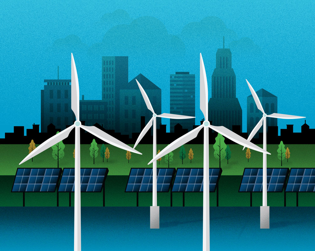Graphic design illustration of wind turbines standing in a body of water in a developing city environment. Behind the wind turbines is a line of solar panels with a park and a cityscape.