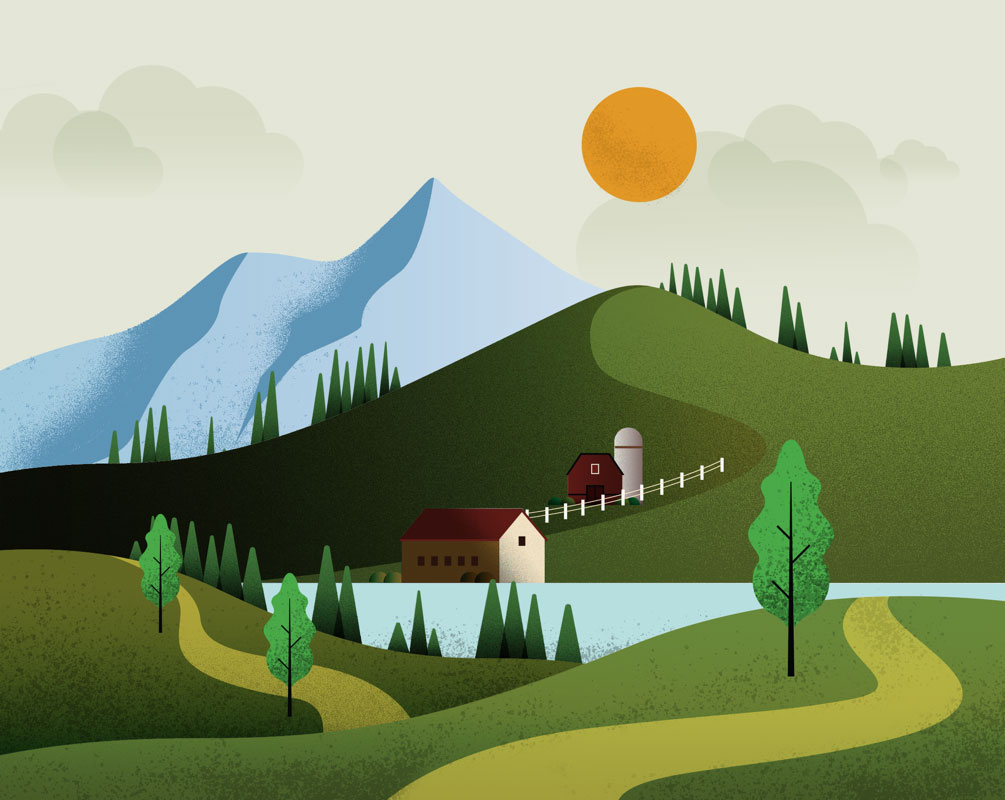 Graphic design illustration of an agricultural scene where a farm house and barn are positioned by a body of water. Background of scene shows neighboring trees, rolling hills, pastures and mountains.