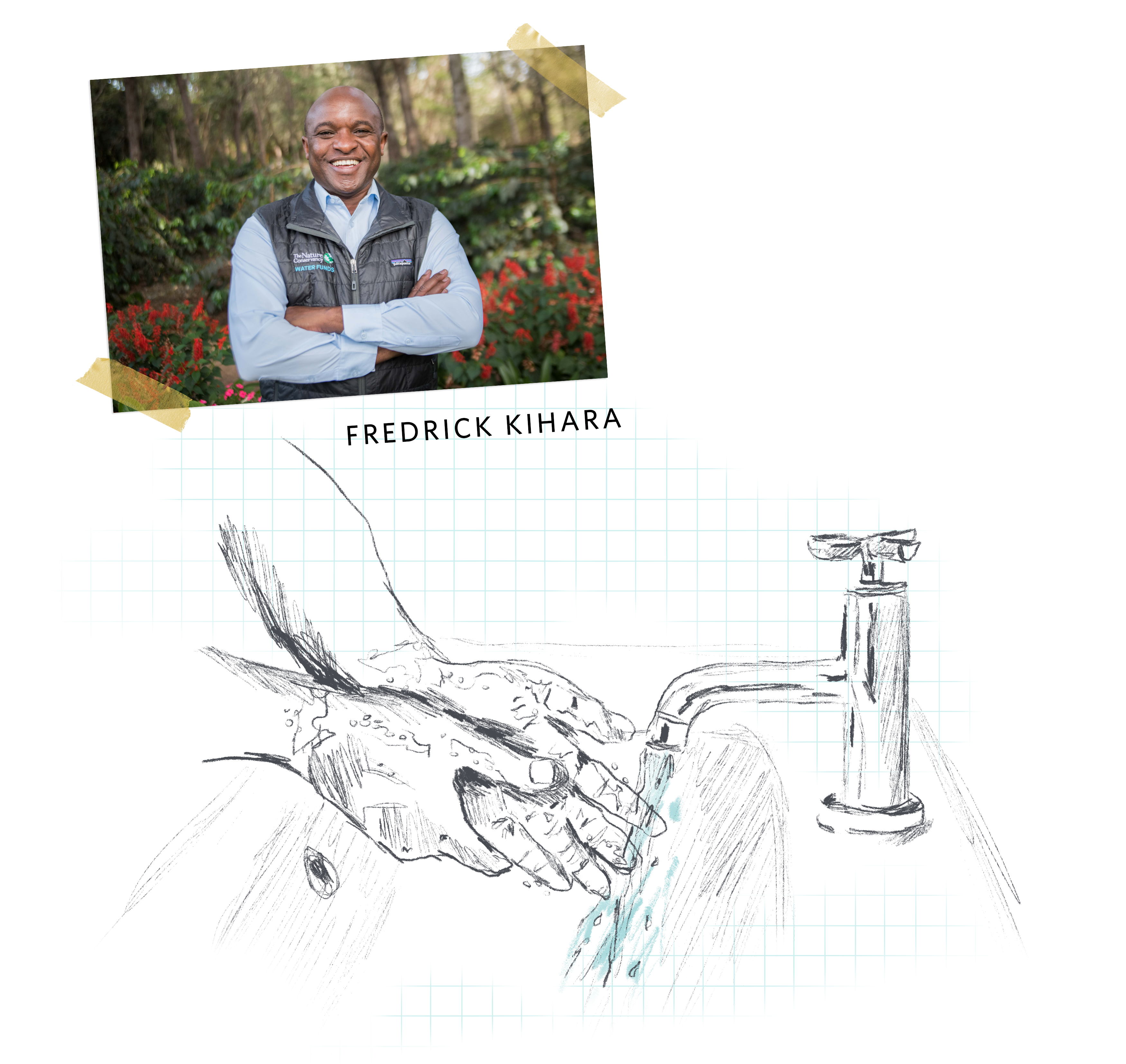 A photo of a smiling man with arms crossed in a garden, collaged with a sketchy illustration of hands being washed in a sink with running water.