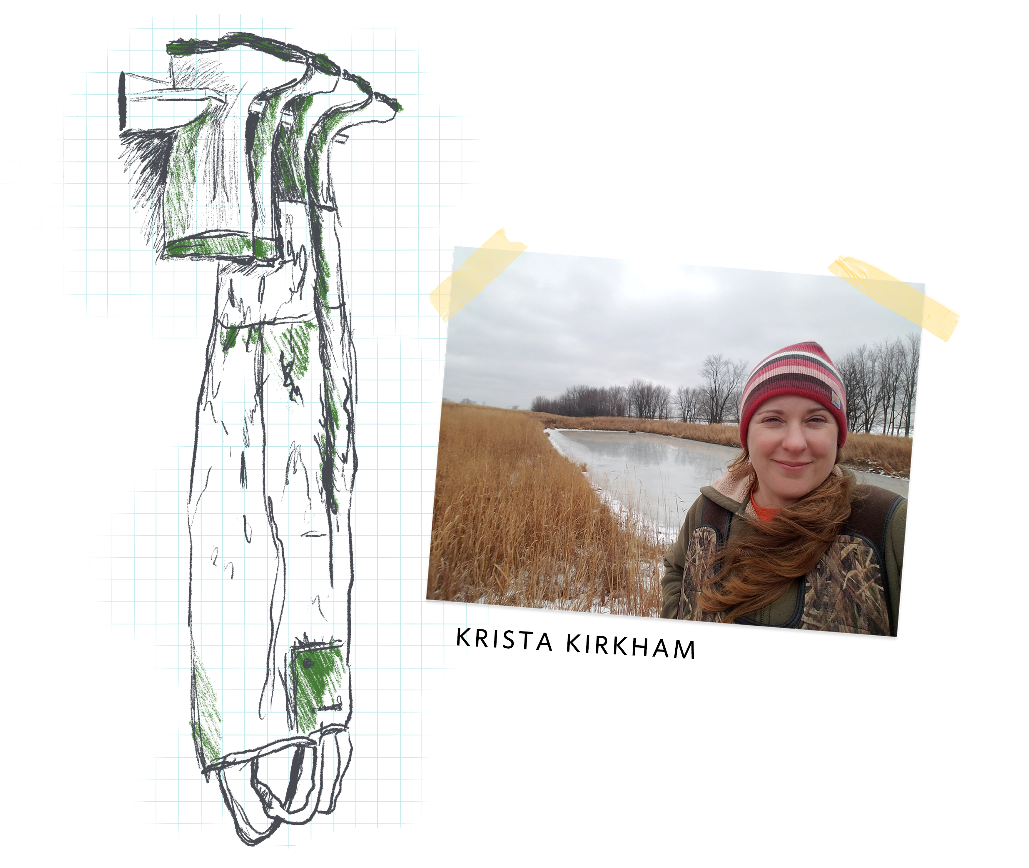 a sketchy illustration of waders hanging upside down, next to a photo of a smiling woman in a wetland
