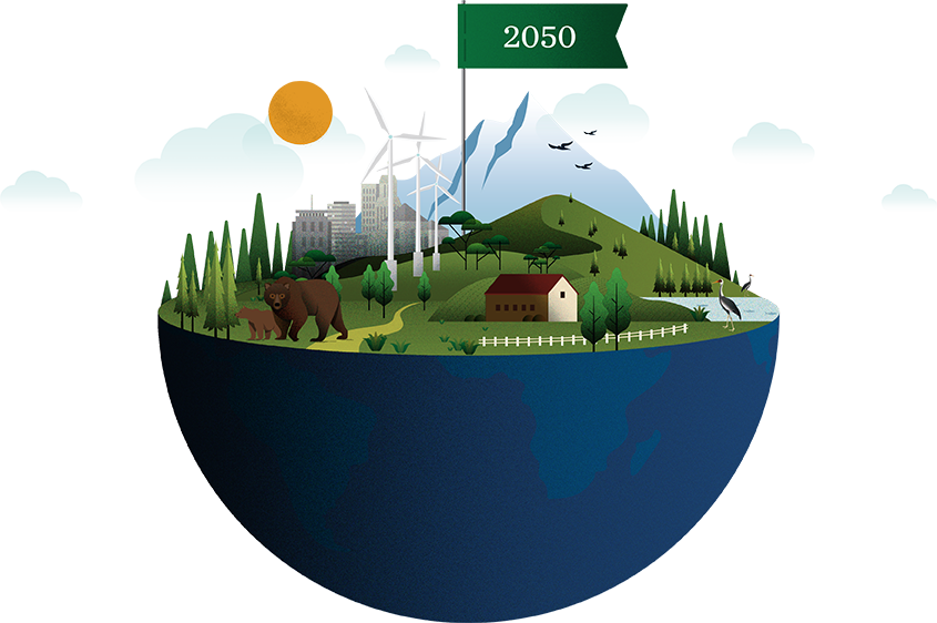 Graphic design illustration of a thriving environment and ecosystem in the year 2050 illustrated on the top half of the earth.