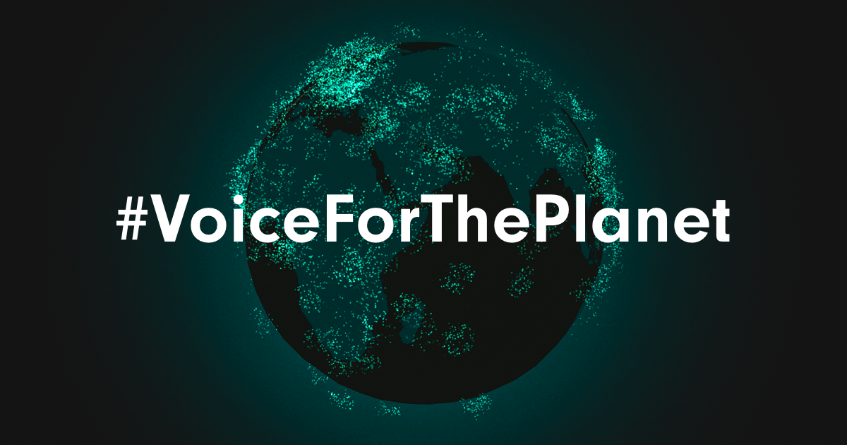 graphic of the earth with green dots and text that reads 'voice for the planet'