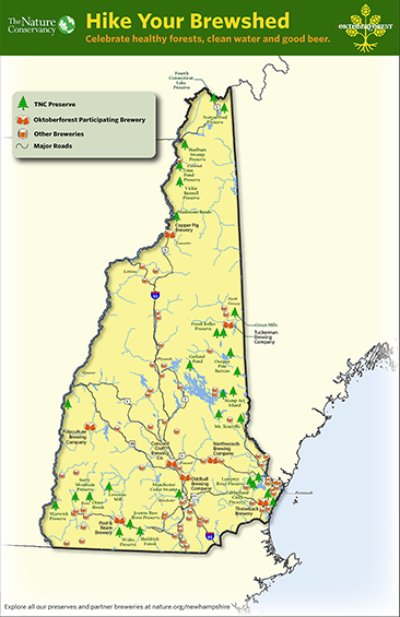 A map of NH featuring preserves and brewery locations.