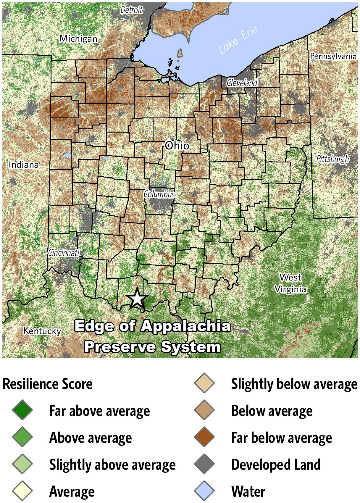 Map of climate change resilient sites across Ohio.