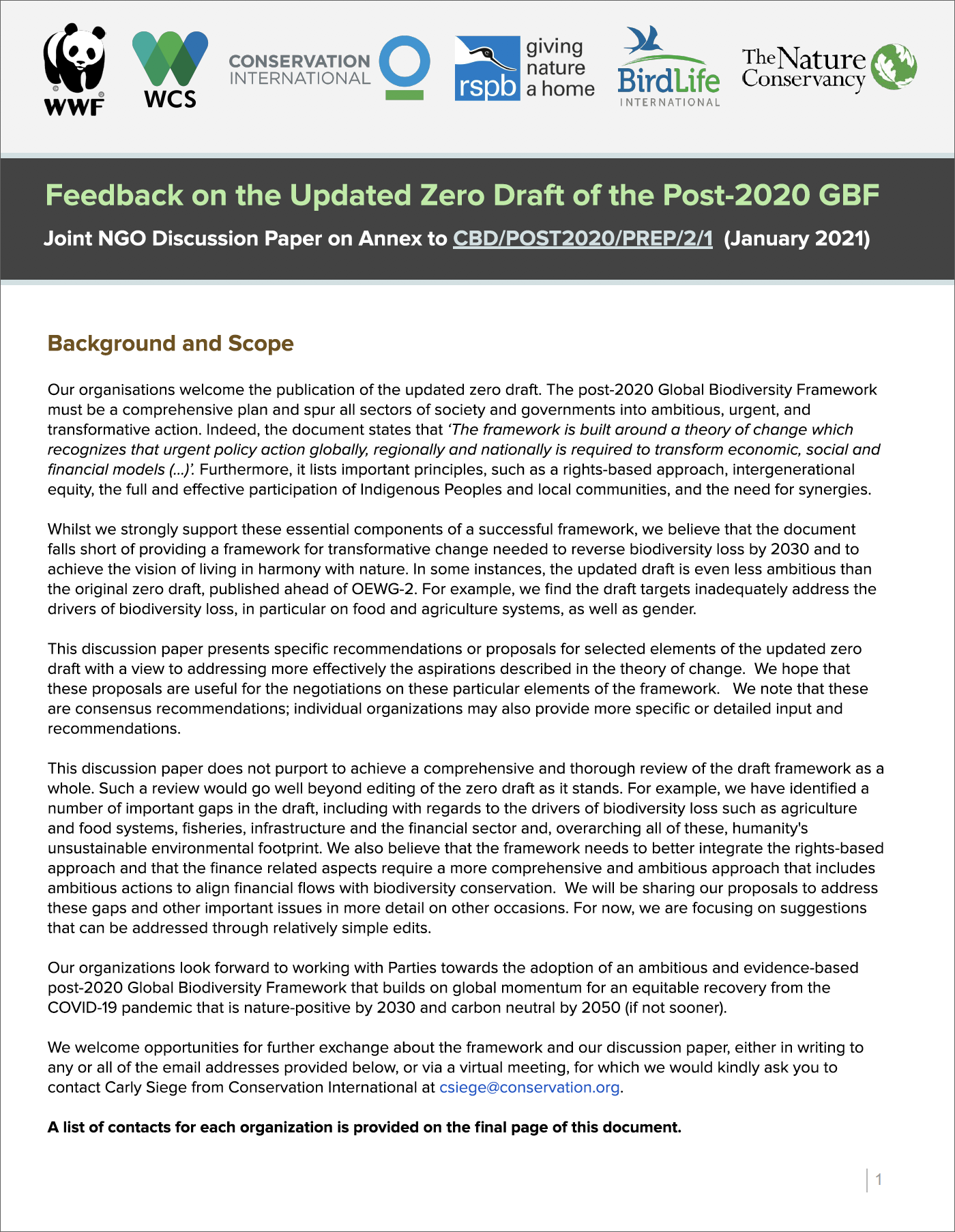 Feedback on the Updated Zero Draft of the Post-2020 GBF, January 2021