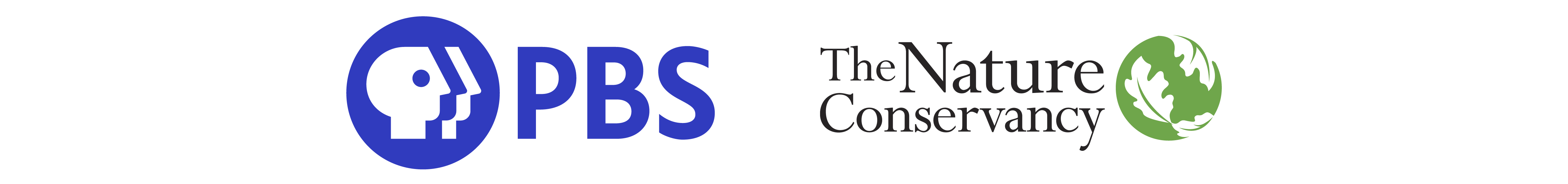two logos, a blue PBS logo on the left and The Nature Conservancy logo on the right