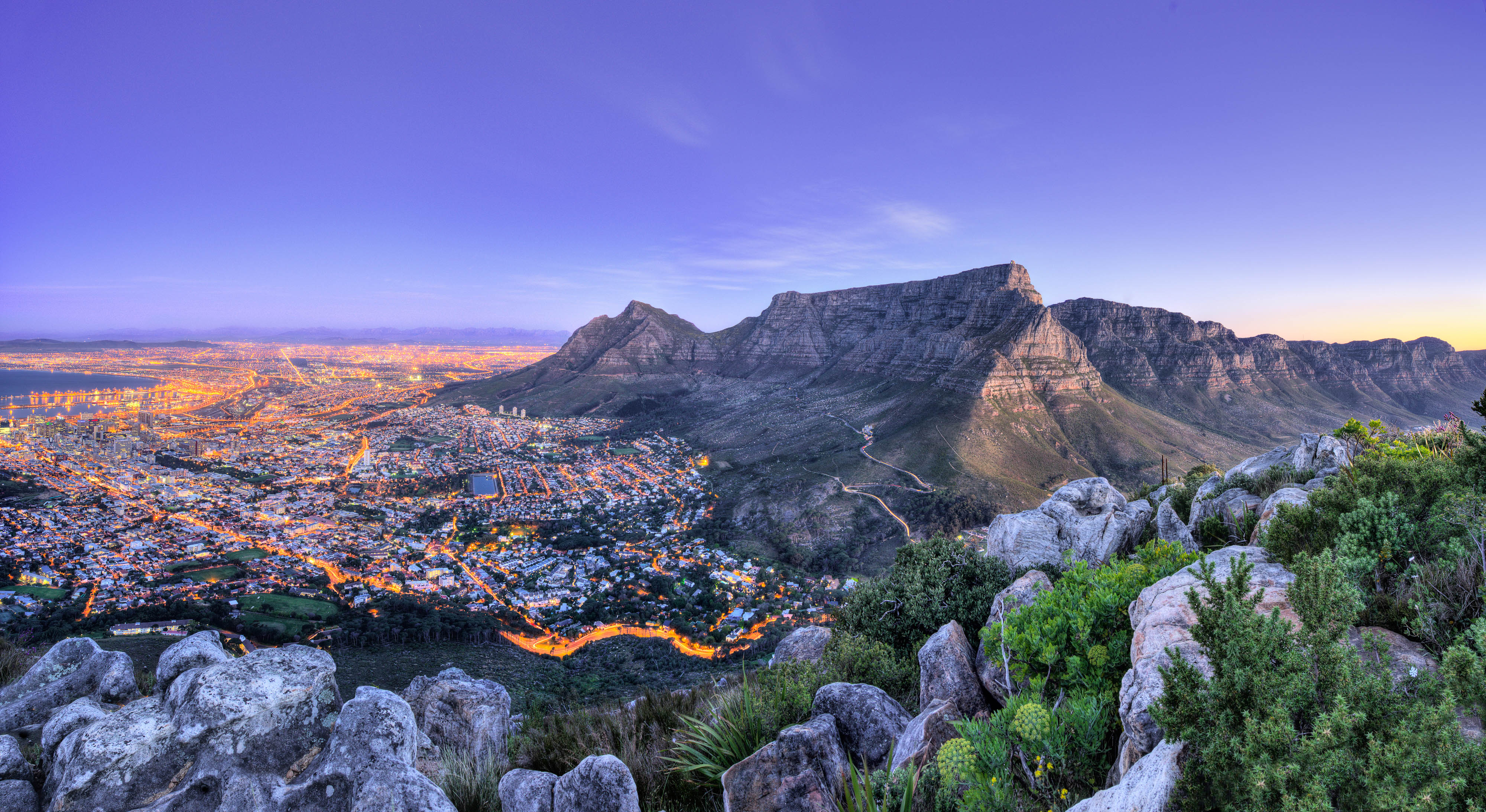 View of Cape Town, South Africa, at dusk