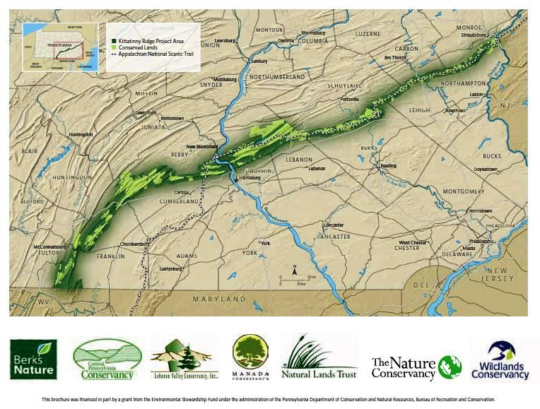 A green band on a map represents a forested ridgeline.