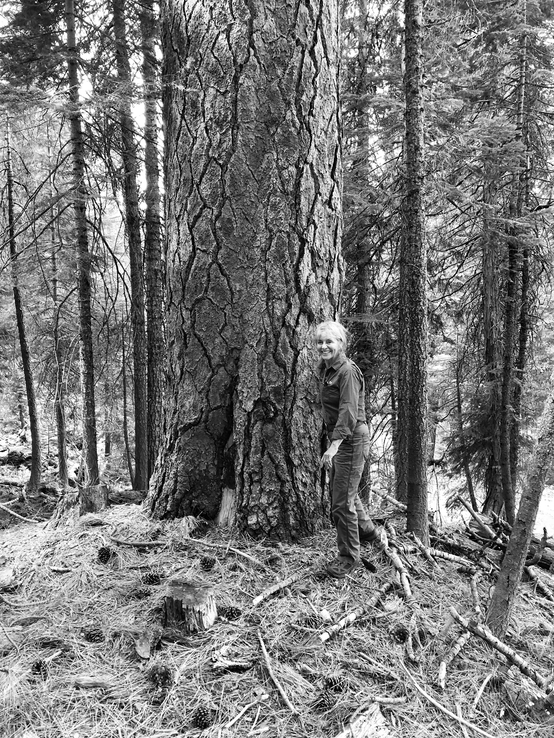 Marie Davis standing next to trees in a forest.