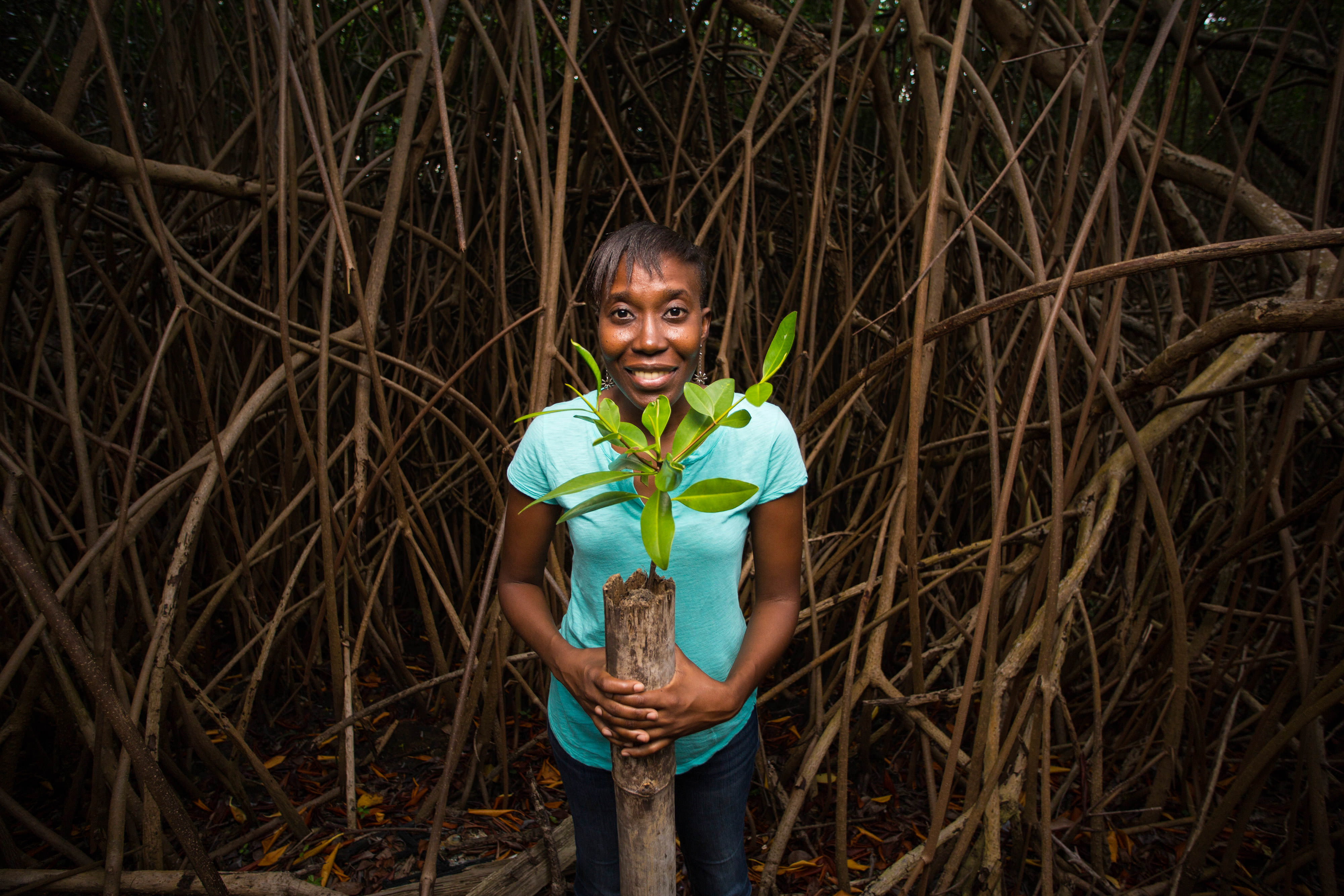 woman smiles while holding mangrove saplings at night in grenada