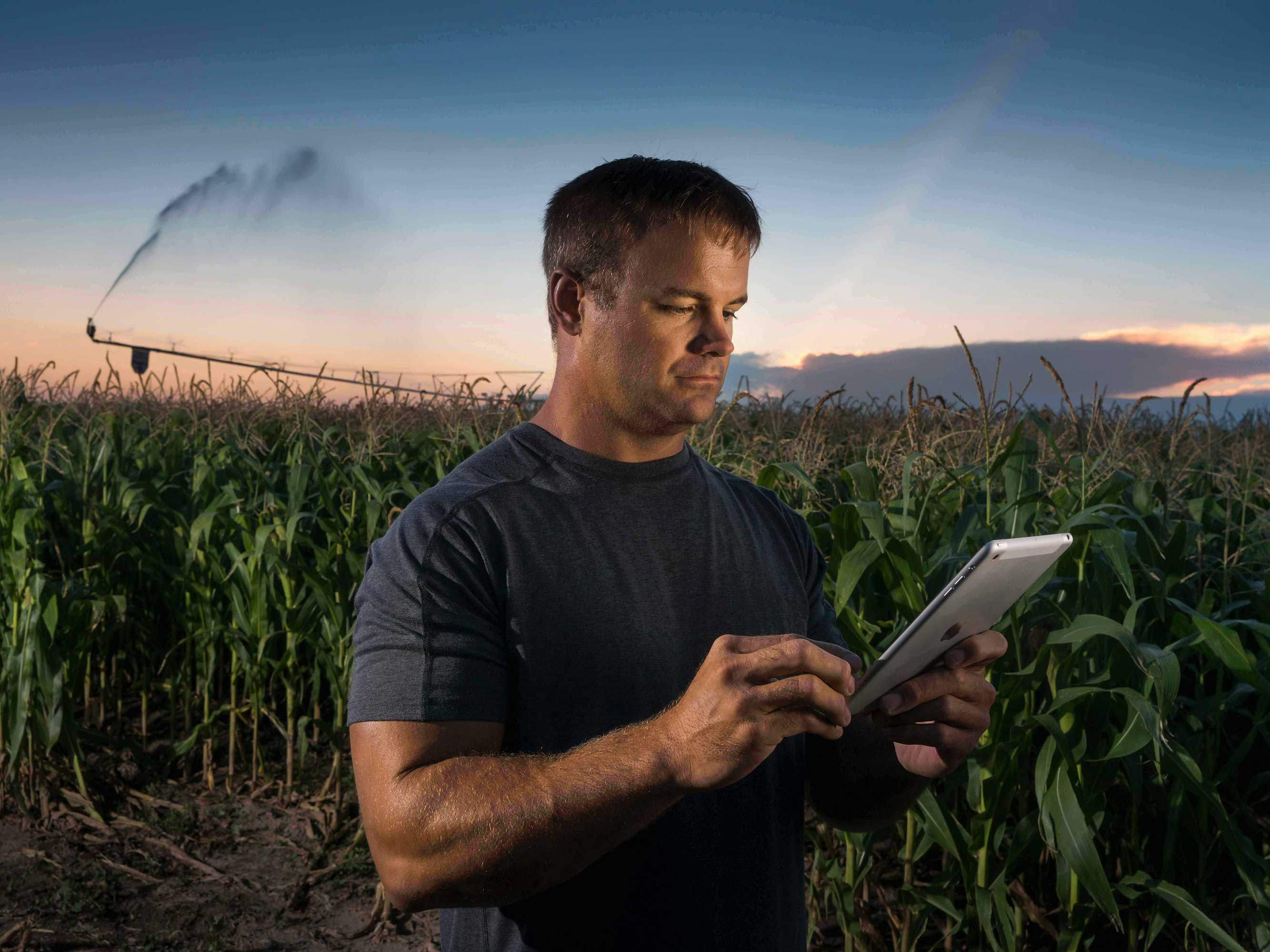 man with tablet in cornfield center pivot irrigation