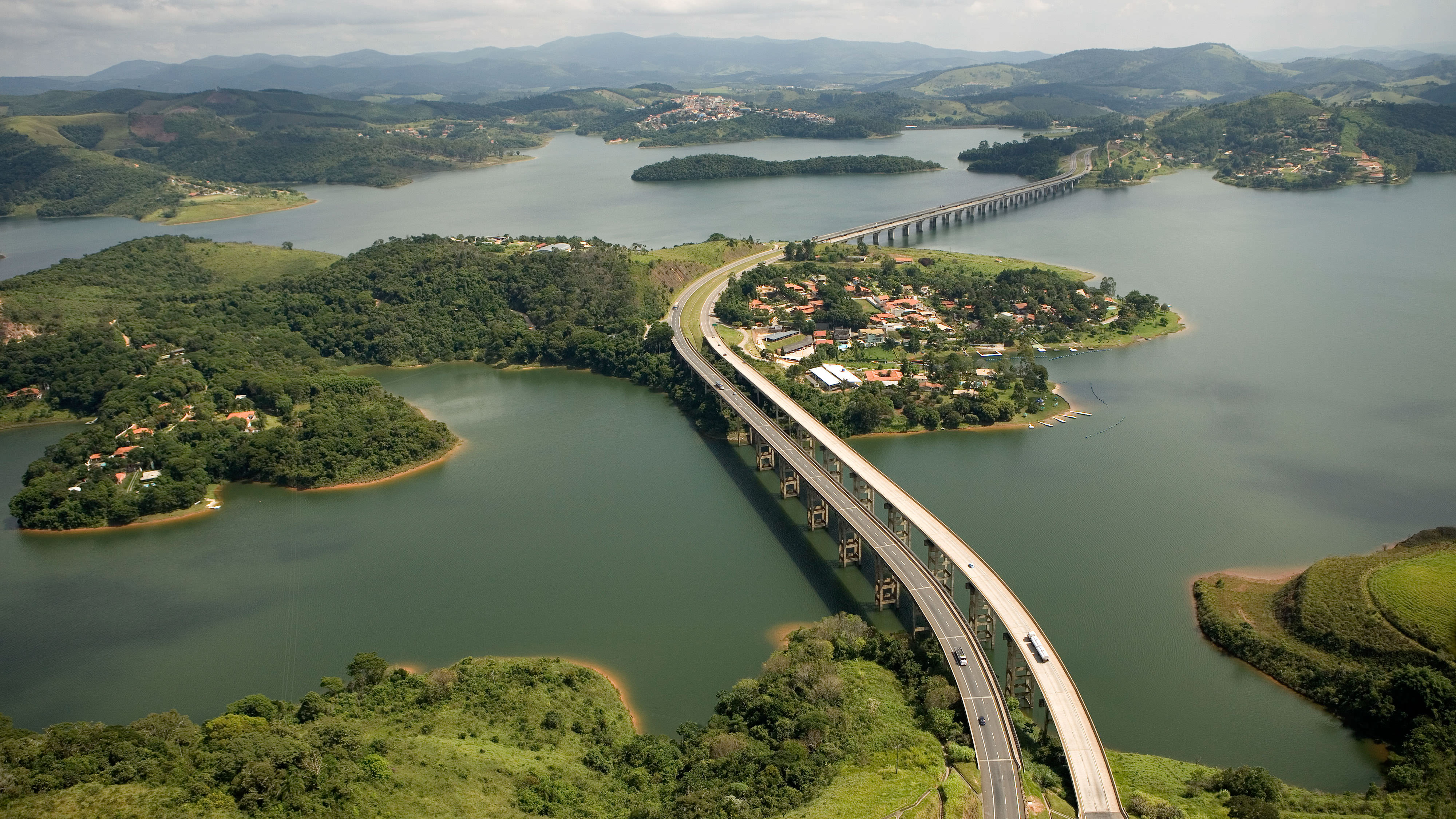 View of road running over reservoir in Brazil.