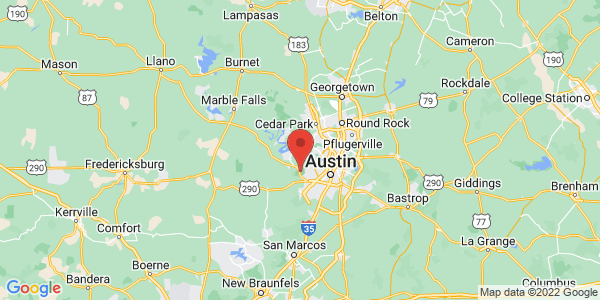 Map with marker: This scenic and pristine landscape in Austin protects the habitat of two species of endangered songbirds and preserves water quality.
