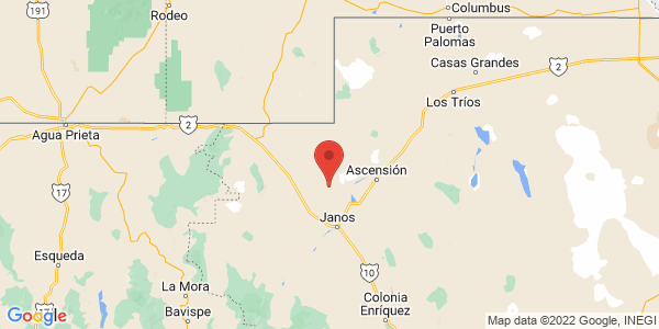 Map with marker: Stretching across six Mexican states and parts of Texas and New Mexico