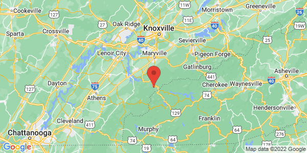 Map with marker: East Tennessee