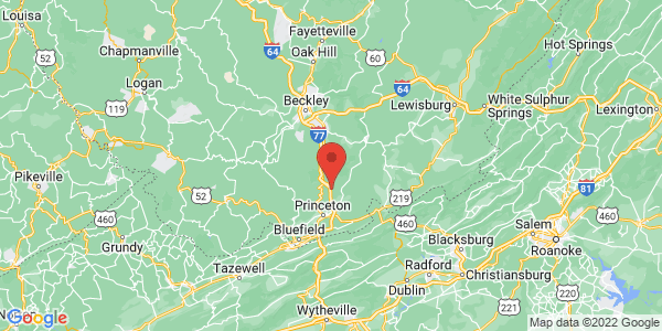 Map with marker: Adjacent to the preserve lies Brush Creek Falls, the largest falls in southern West Virginia.