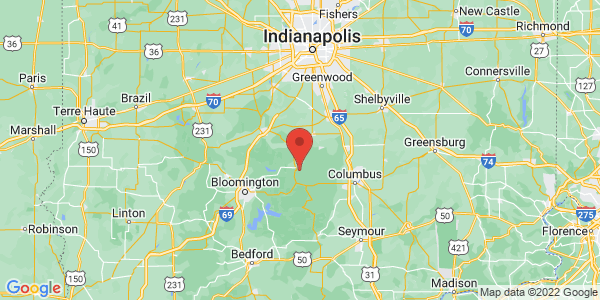 Map with marker: Just north of Nashville, Indiana, off SR 135.