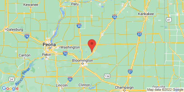 Map with marker: The Franklin Farm is located in Lexington, Illinois.