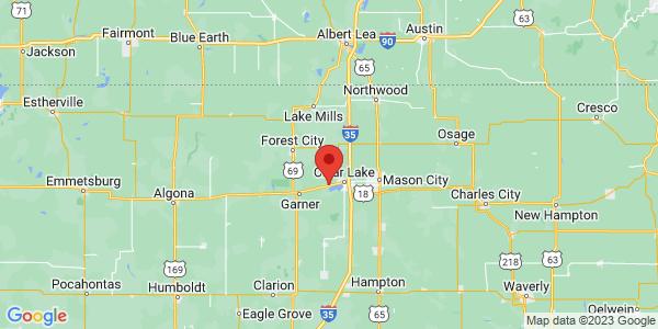 Map with marker: Tallgrass prairie near Clear Lake, Iowa.
