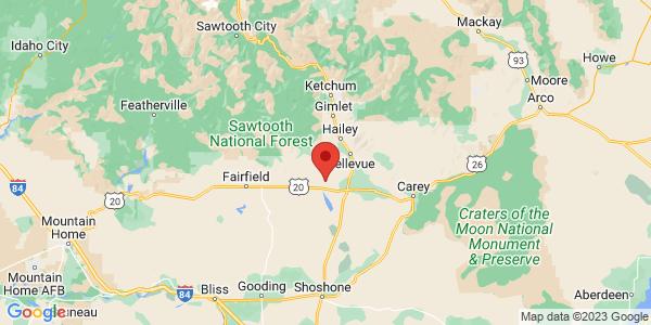 Map with marker: Located near Hailey, Idaho